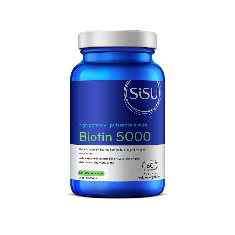 加拿大SISU高效5000微克生物素胶囊 60粒 促进头发指甲皮肤健康