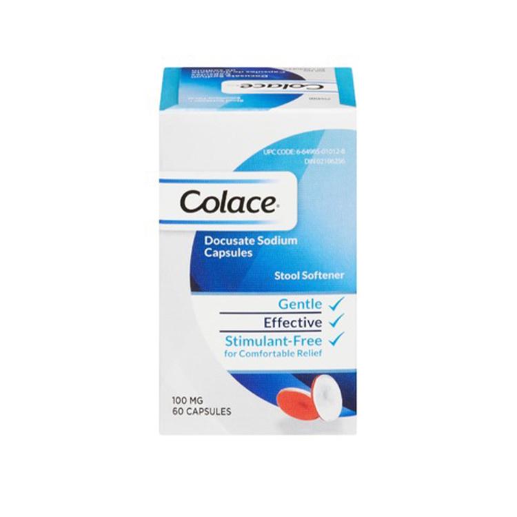 Colace, Docusate Sodium Stool Softener 100mg, 60 Capsules