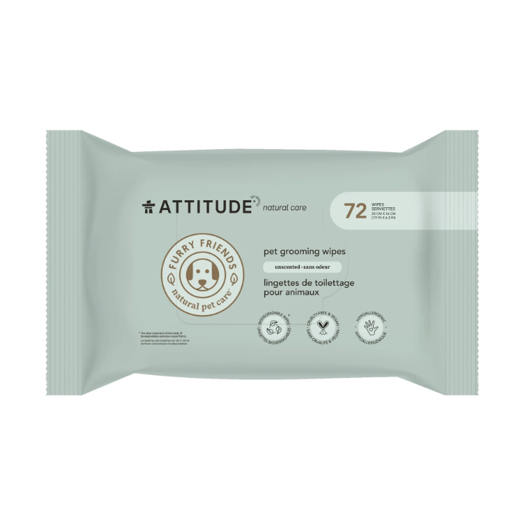 Attitude, Natural Pet Care, Pet Grooming Wipes, Unscented, 72s